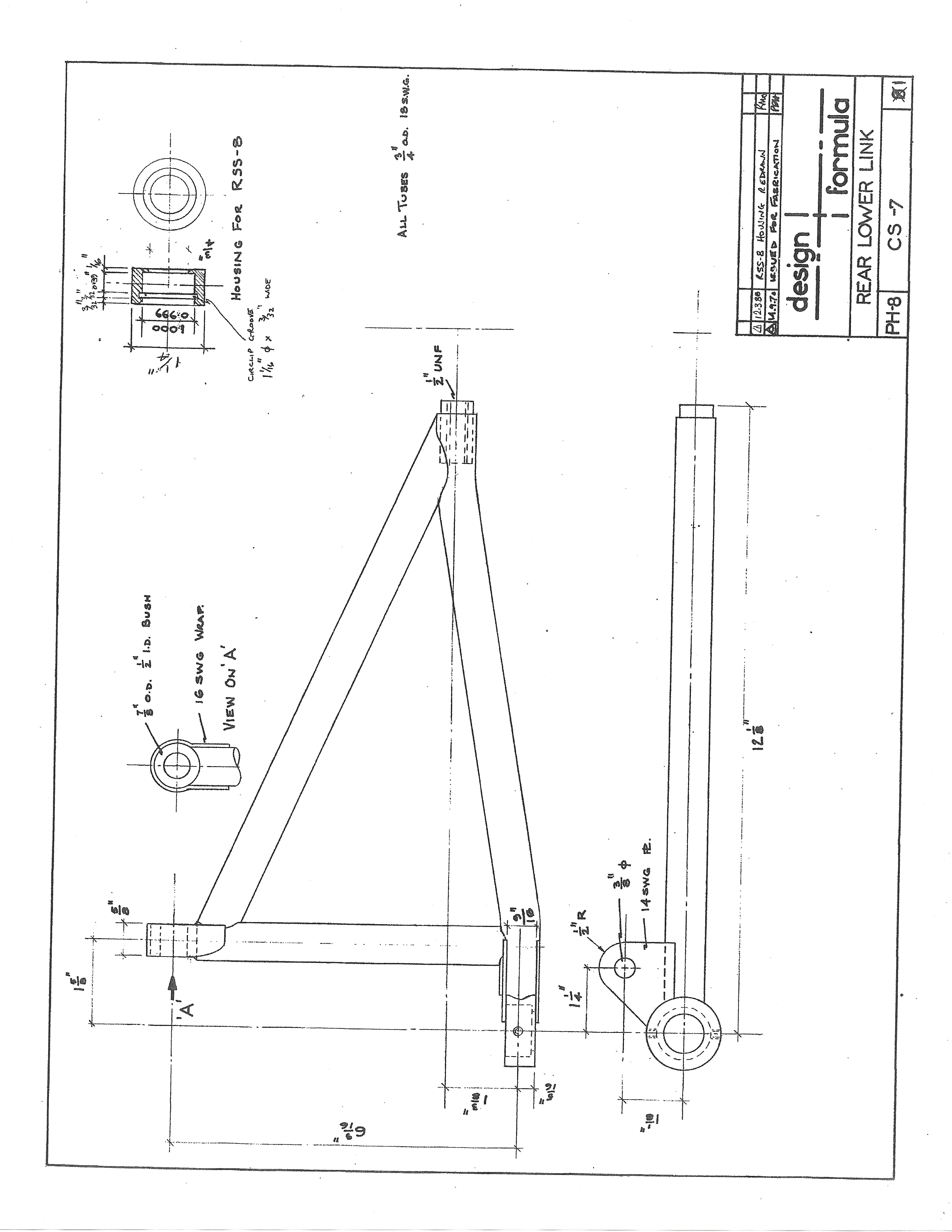 Elden FF Rear Suspension A Arm drawing